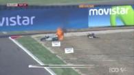 La moto de Barbera prend feu