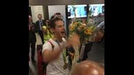 Arrivée du champion olympique d'aviron Lucas Tramèr à Genève