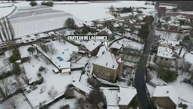 Laconnex sous la neige, vu du ciel