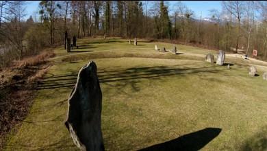 Les 45 menhirs d'Yverdon vus du ciel