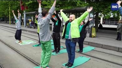 Flash-Mob des Verts genevois à l'arrêt TPG d'Uni-Mail