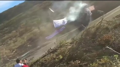 Spektakulärer Crash an Rallye in Chile