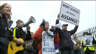 Manifestation à Londres contre l'extradition de Assange